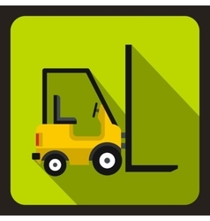 Yellow stacker loader icon flat style vector image