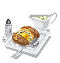 Baked potato with sauce vector