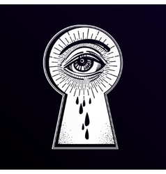 Mystic eye peeping through the keyhole vector