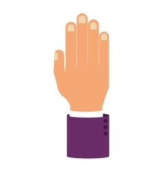 Open Palm of hand with sleeve purple color vector image