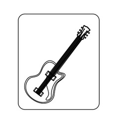 emblem electric guitar icon vector image
