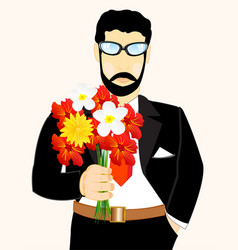Man with bouquet flower vector