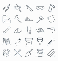 Collection of outline repair and building tools vector