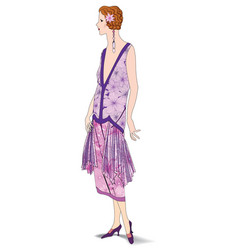 Stylish cloth woman fashion dressed girl 1930s vector