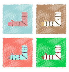 Collection of flat shading style icons broken arm vector