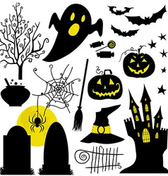 Halloween black and yellow icons set white vector