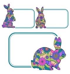 Banner with colorful rabbits vector