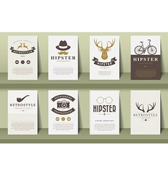 Set of brochures in vintage hipster style vector