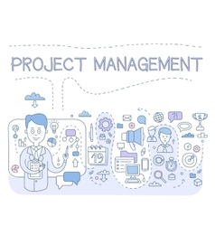 Doodle style concept of project management modern vector
