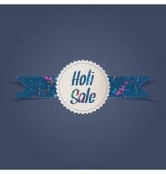 Holi sale white emblem with ribbon vector
