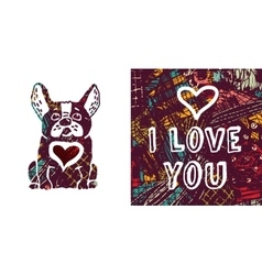 I love you greeting card dog and heart vector