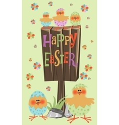 Easter chick card vector