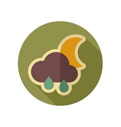 Rain cloud moon retro flat icon weather vector