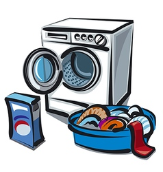 Washer and linens vector