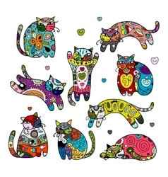 Art cats with floral ornament for your design vector