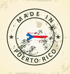 Stamp with map flag of Puerto Rico vector image