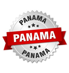 Panama round silver badge with red ribbon vector