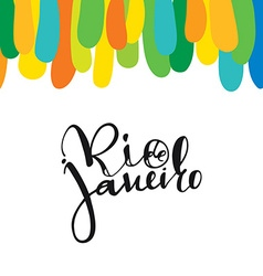 Rio de janeiro inscription background colors of vector