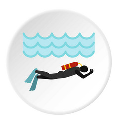 Aqualanger in diving suit icon circle vector