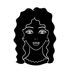 Avatar of a woman with curly hairavatar and face vector