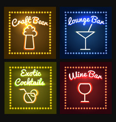 Bar or barrel shop neon sight set vector