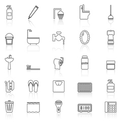 Bathroom line icons with reflect on white vector