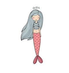 beautiful cute cartoon mermaid with long hair vector image vector image