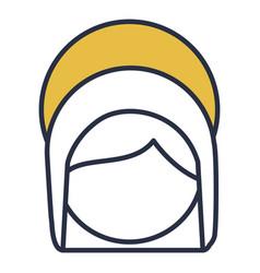 Blue color contour of faceless head of saint vector
