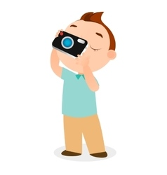Boy with camera eps 10 vector image