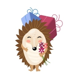 Cartoon hedgehog with gifts and flowers vector