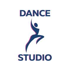 Dance studio logo dancer logotype vector