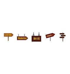 Direction wood sign icon set flat style vector