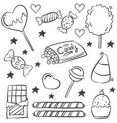 Doodle of various candy sketch vector