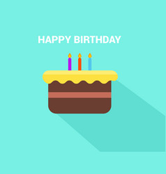 Flat birthday cake with happy birthday text vector