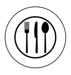 fork knife and spoon on plate background vector image vector image