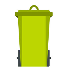 green trash bin icon isolated vector image