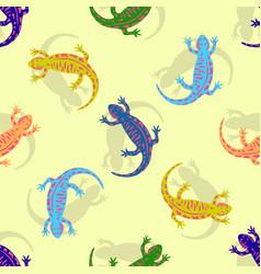 Hand drawn colorful salamander seamless pattern vector