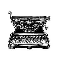 hand-drawn vintage typewriter writing machine vector image vector image