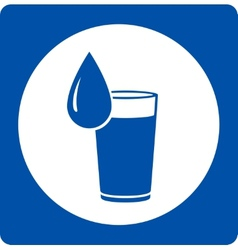 Icon with water drop and glass vector