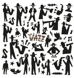 jazz mans - doodles set vector image vector image