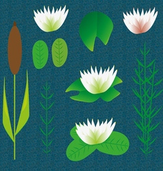 Lake plants set cartoon background vector image