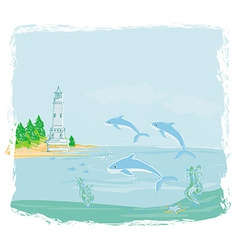 lighthouse seen from a tiny beach and dolphins vector image