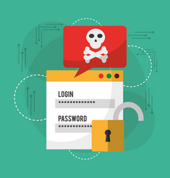 Login password danger notification unlock vector