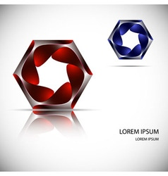 Logo banner of twisted metal hexagon with lights vector