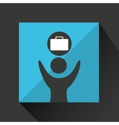 Man happy with portfolio business design icon vector