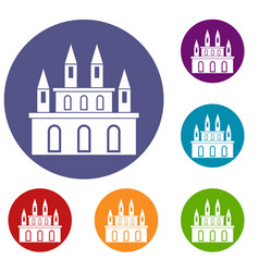 Medieval castle icons set vector