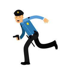 Police officer character in a blue uniform running vector