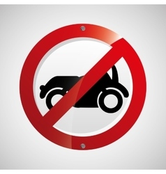 Prohibited traffic sign car round icon design vector