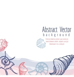 Sea shells and watercolor elements background vector image vector image