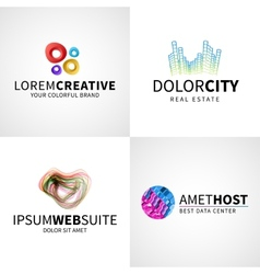 Set of modern colorful abstract creative web host vector image vector image
